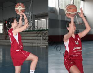 Foto de baloncesto de una niña realizando una entrada a canasta con gesto de tiro