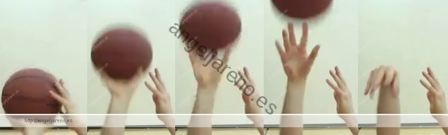 Foto de baloncesto que recoge el proceso del tiro, desde su agarre hasta su lanzamiento