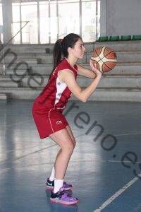 Foto de baloncesto de una niña preparada para lanzar a canasta en una perfecta posición de triple amenaza y con un buen equilibrio corporal