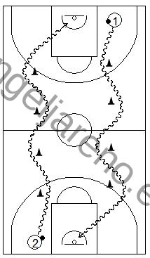 Gráfico de baloncesto que recoge ejercicios de bote con dos filas botando rápido en carrera sorteando conos