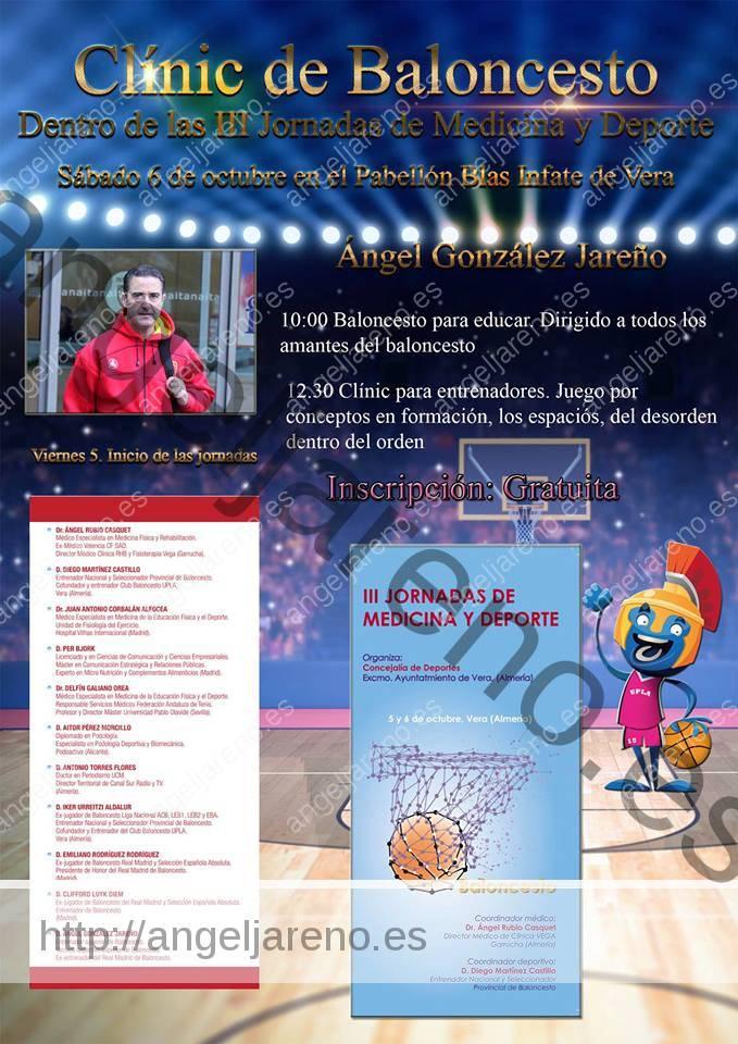Cartel del Clínic de baloncesto que recoge la charla de baloncesto para educar en Vera que impartió Ángel González Jareño