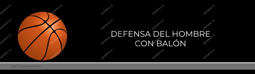 Imagen que recoge un balón de baloncesto y el título Defensa del hombre con balón
