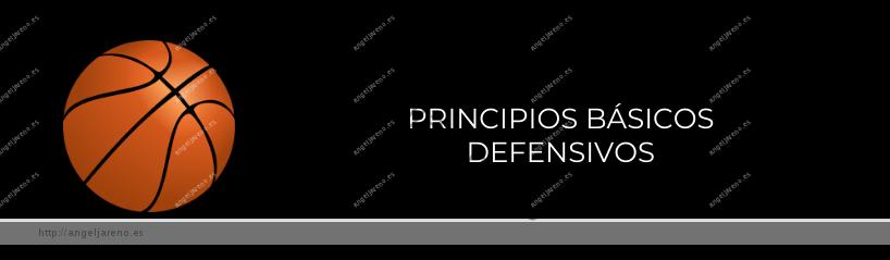 Imagen que recoge un balón de baloncesto y el título Principios básicos defensivos