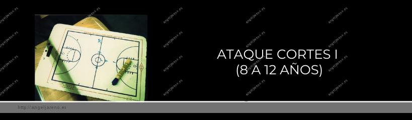 Imagen que recoge una planilla de baloncesto y el título Ataque cortes I ( 8 a 12 años)