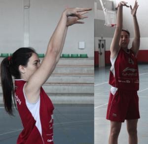 Foto de baloncesto de una niña dejando el brazo estirado tras haber realizado un tiro a canasta