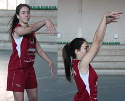 Foto de baloncesto de una niña lanzando el balón en una acción de pase y en otra de tiro que es uno de los movimientos básicos
