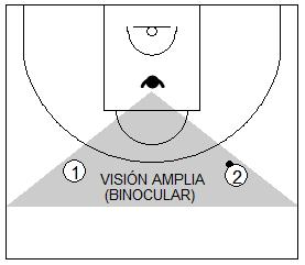 Gráfico de baloncesto que recoge a un defensor usando su visión amplia respecto a dos atacantes