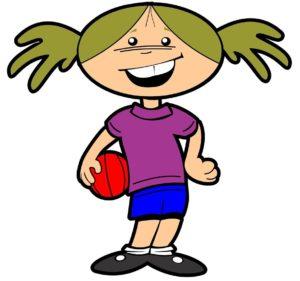Dibujo de baloncesto de formación y valores que recoge a una niña con un balón de baloncesto sujeto en la cadera